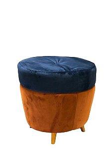 Puff Redondo - Azul Marinho e Terra Cota