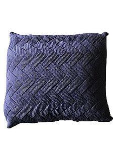 Almofada de Tricô Azul Marinho Trançado  | 52x52