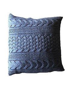 Almofada de Tricô Azul  Detalhada   | 52x52
