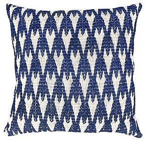 Almofada Crochê Tramado Azul e Branco  019-22  | 52x52