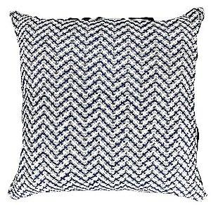 Almofada Crochê Tramado Azul e Branco  019-25  | 52x52
