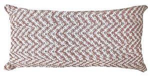 Almofada Baguete Croche Tramado Rose e Branco  020-10  | 25x52