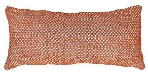 Almofada Baguete Croche Tramado Ocre e Branco  020-14  | 25x52