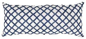 Almofada Baguete Croche Tramado Azul e Branco  020-21 | 25x52