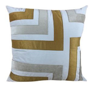 Almofada Veludo Com Aplique Veludo Dourado e Palha 178-09 | 52x52