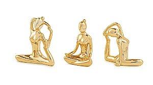 Escultura Yoga Dourada Em Porcelana - 3 Peças