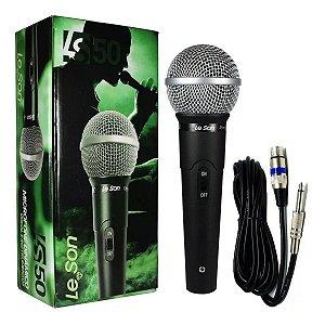 Microfone Com Fio Profissional LS-50 Com Cabo De 5 Metros