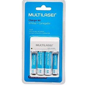Kit Carregador De Pilhas Multilaser  + 2 Pilhas AA E 2 Pilhas AAA