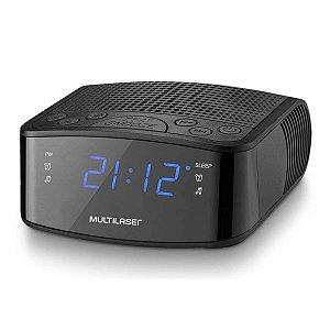 Radio Relógio Digital Alarme Despertador 3W RMS Preto Multilaser - SP288