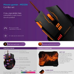 Combo Mouse Gamer E Mouse Pad Multilaser Laranja - MO256