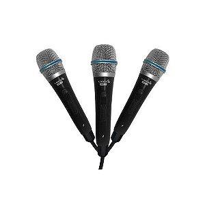Kit 3 Microfone Lyco Com Fio SMP-10P3