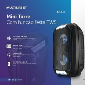Caixa de Som Multilaser Mini Torre Party TWS Bluetooth 200W RMS Preto – SP336