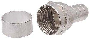 Conector para fio coaxial RG6 P/Clip  c/anel unidade
