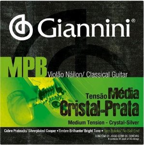 Encordoamento Para Violão Nylon Giannini MPB Tensão Média Cristal-Prata GENWS (Sem Bolinha)
