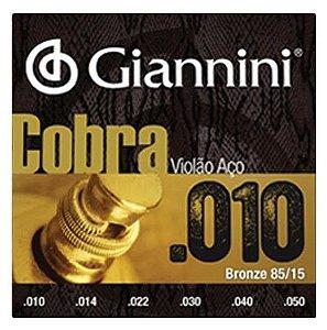 Encordoamento Giannini Violão Aço Cobra .010 Bronze 85/15