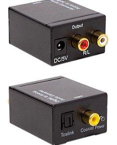Conversor De Áudio Digital  P/Analógico Óptico para RCA