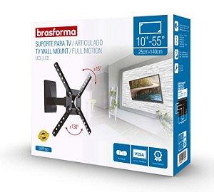 "Suporte ARTICULADO para TV LED, LCD de 10"" a 55"" – Brasforma SBRP 130"