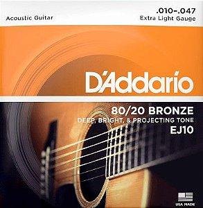 Encordoamento P/ Violão  D'addário bronze 010 EJ-10