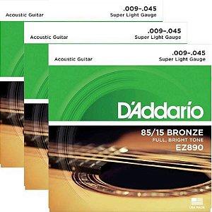 Encordoamento Violão Aço 09 Daddario EZ890 85/15 Bronze