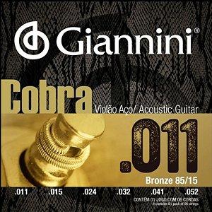 Encordoamento Giannini Para Violão Aço Cobra .011 Bronze GEELFK
