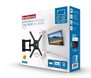 "Suporte ARTICULADO para TV LED, LCD de 10"" a 55"" – Brasforma SBRP 140"
