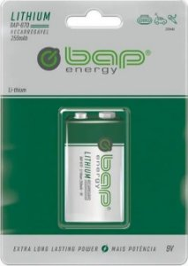 Bateria 9V BAP recarregável lithium    250mAh