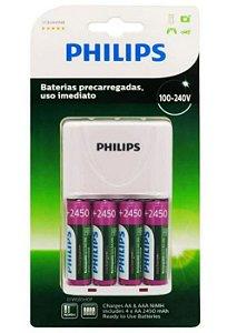 Carregador de Pilhas Philips com 4 Pilhas AA Recarregáveis 2450mAh SCB2445NB