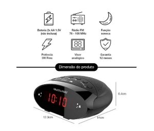 Rádio Relógio Digital Multilaser - SP352
