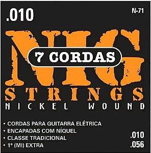 Encordoamento Guitarra Nig 010 N71 Traditional Class 7 Cordas