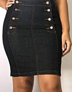 Saia Jeans Detalhes em Botões