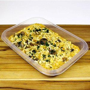 Risoto de cogumelo com alho-poró (vegetariano)