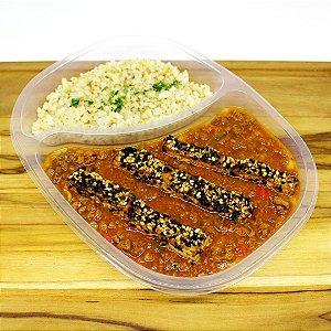 Purê de batata-doce com tofu assado (vegano)
