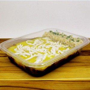 Escondidinho de mandioca com arroz branco (vegetariano)