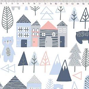Tecido Urso e Casas Azul ES023C01