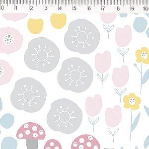 Tecido Flores e Cogumelos ES035C01
