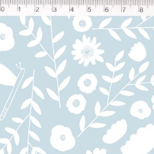 Tecido Floral Azul ES034C02