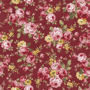 Tecido Grand Floral Vinho 9909 50x150