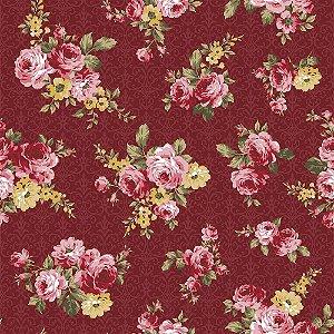 Tecido Floral Arabesque Vinho 9910 50x150