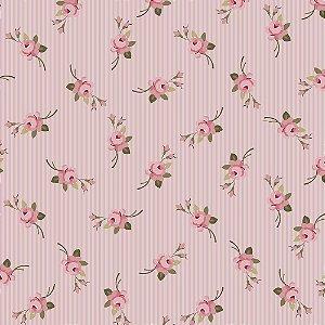 Tecido Botão Listrado Rosa 9907 50x150