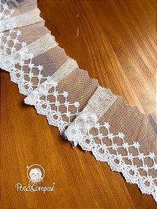 Renda barrado largo Branco 631 METRO