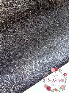 Glitter cor Preto 50x140