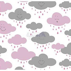 Tecido Nuvem Cloud Rosa com Cinza (Cor 03)