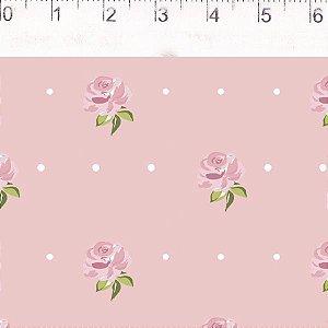 Coração de Pano Floral Menor Rosa CP003C02