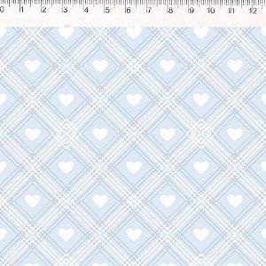 Coração de Pano Xadrez Azul CP005C01