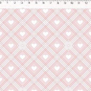 Coração de Pano Xadrez Rosa CP005C02