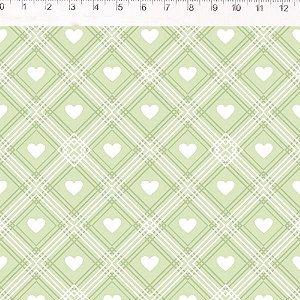 Coração de Pano Xadrez Verde CP005C04