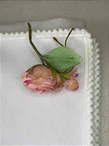 Manta Pom Pom Branca (90 cm x 90 cm)