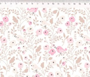 Tecido Floral e Passarinho ES021C02