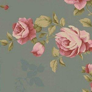 Tecido Floral Grande La Vie en Rose Cinza (MV001C03)
