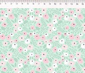 Tecido Floral verde ES022C01